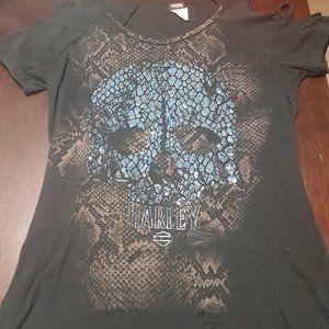 Snakeskin Skull Harley Davidson T-Shirt